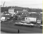 James and Parks Hall construction on West Green, March 1962