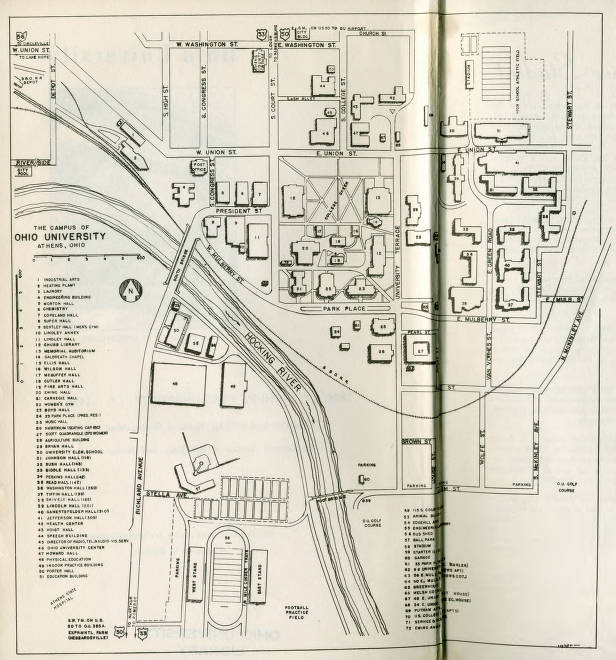 Athens Campus Map.Ohio University Campus Map 1959 Ohio University Archives Ohio