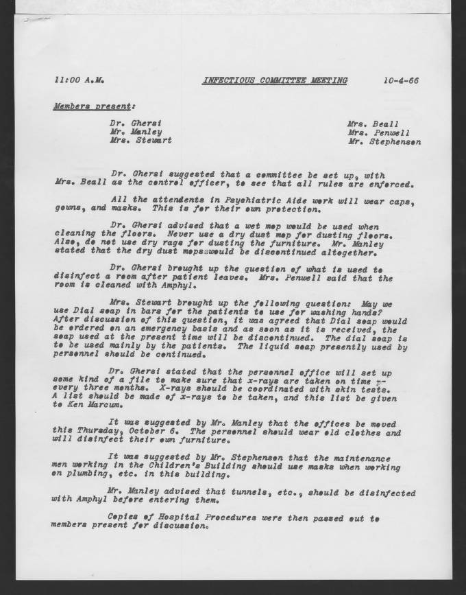 16 Infectious Control Committee Minutes 1966 10 04 1967 04 05 01